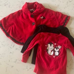 NWT 12months poncho/cape and 2 long sleeve shirts
